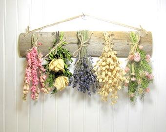 Rustic Dried Flower Rack, Wall Decor