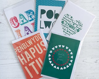 Set of 5 or 10 Welsh cards - birthday, thank you and more