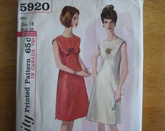 Simplicity Pattern 5920 Misses' One-Piece Dress      1965