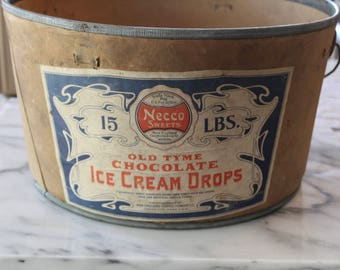 Vintage Cardboard Ice Cream Container - Necco Sweets Pail