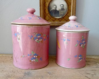 Pink Canister - Two French Antique shabby chic canister with flowers -  art nouveau - 1900s - French Porcelain