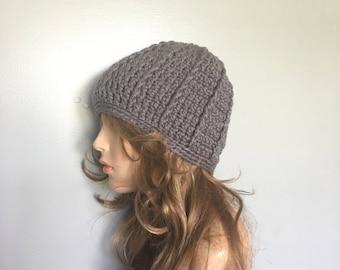 SALE Crochet Beanie Hat - OXFORD GREY