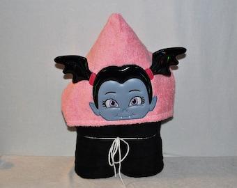 Towel OR Blanket - Pretty Pink Vampire Girl - Hooded Towel - Hooded Blanket - Drive-in - Bath Towel - Beach Towel