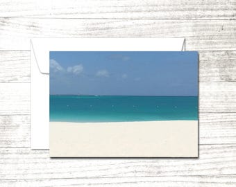 Caribbean Stripes Note Card | Summer photograph | Greeting Card | Seaside notecard | Blank Note Card | Blank Greeting Card
