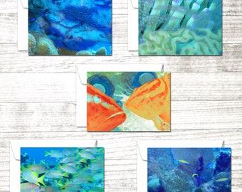 Dive Art Set of 10 Note Cards   Underwater Art Greeting Cards   Scuba Diver Gift   Greeting Card Set