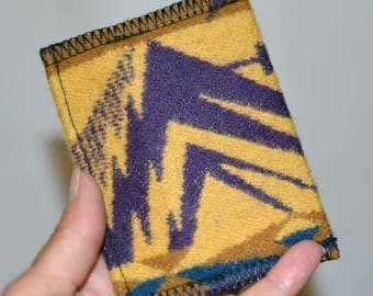 Mt Hood Wool Wallet mustard and purple Native American design fabric slim simple WALLET id card case handmade of Pendleton Wool -- Wallet