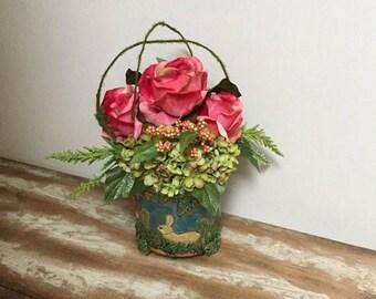 ON SALE 50% OFF Easter Floral Arrangement Ceramic Bunny Vase Floral Easter Home Decor Easter Centerpiece Spring Floral Arrangement Hydrangea