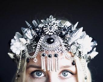 The WARRIOR - Mermaid Crown - with Swarovski Crystals / headband / headdress - shell crown - crystal crown - Hen party