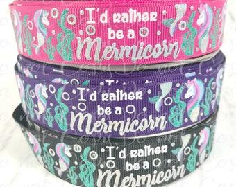 """7/8"""", I'd Rather be a Mermicorn, US Designer Ribbon, Glitter Ribbon, Foil Ribbon, Mermaid Ribbon, Unicorn Ribbon, Bubble Ribbon"""