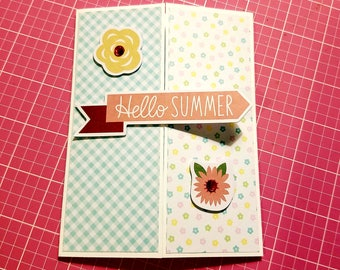Happy Summer, Handmade greeting card,  for any ocassion,  just a note, saying hello, get well
