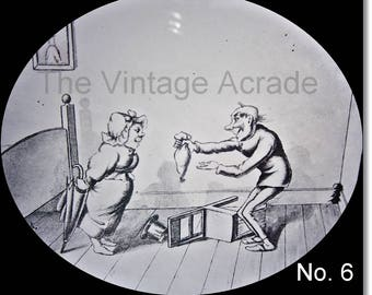 Magic Lantern Slide, Victorian Glass Slides, Victorian Toys, Mr. & Mrs. Brown and the Mouse, Lantern Slides No. 6