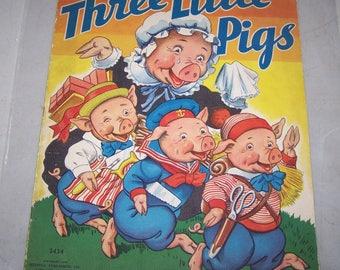 "Vintage 1938 Merrill Publishing Co. ""Three Little Pigs"" Linen Like Children's Book"