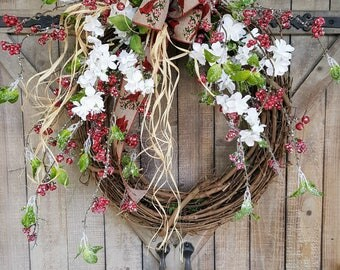 Christmas Wreath, Christmas front door wreath, Christmas Decor, Country Christmas Wreath, Christmas Door Wreath, Red Robin wreath