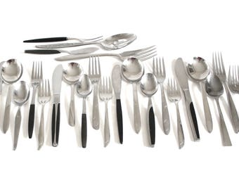 "Mid Century Stainless Flatware Set Mismatched Black Handle Service for 4, Oneida Twin Star Etc, Atomic Starburst (as-is, see ""Item Details"")"