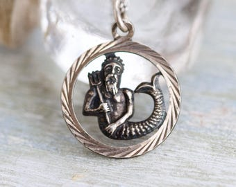 Neptune Necklace - Sterling Silver Medallion of Greek God of the Seas Pendant Poseidon and Chain