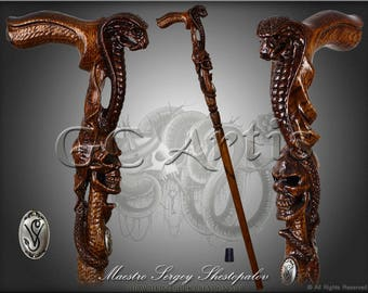 COBRA & SKULL CANE Dark walking stick wooden handle handcarved crafted authors made top art