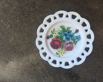 Milk glass plate with flowers