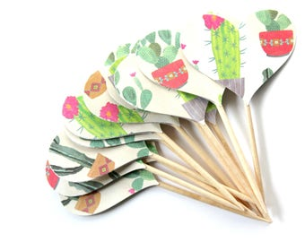 Cactus Heart Cupcake Toppers, Southwestern Party Theme, Set of 12