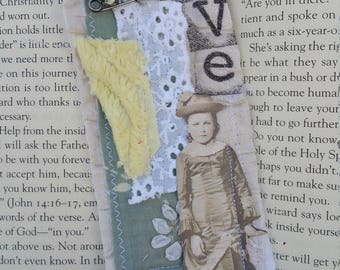 Vintage styled fabric bookmark