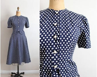 20% OFF SALE // 70s Polka dot Dress / Polka dot Suit / Full Skirt / Size S/M