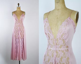 Vintage 70's Val Mode Nightgown Pale Pink Lace Slip Dress / Full Slip / Wedding Slip Dress / 1970s Lace / Size S/M