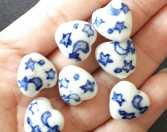 6pcs-white blue Art Porcelain beads, ceramic heart  beads