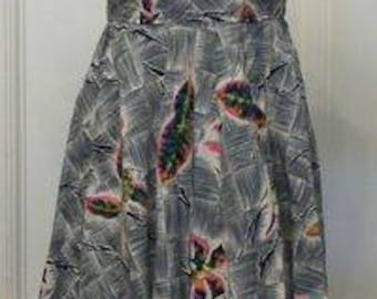 Rare grey crisp vibrant 1940 1950 Kamehameha dress