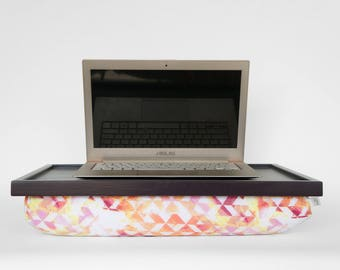 Laptop stand, laptop tray with beanbag pillow, Serving tray- dark purple tray, geometric print pillow