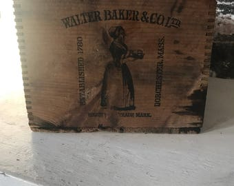 Antique Walter Baker Cocoa Primitive Crate BoxWooden Crate