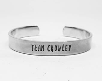 TEAM CROWLEY: Supernatural fandom hand stamped aluminum king of hell fangirl cuff
