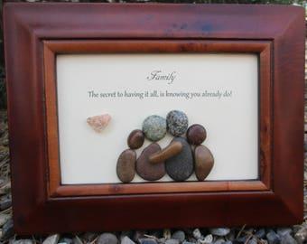 Pebble Art - Rock Art - Family - Family of 4 - Grandparents - Aunt - Uncle - Cousins - Friends - Mom - Dad - Children