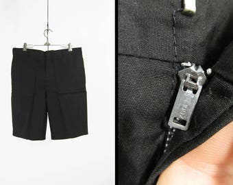 Vintage Black Poplin Shorts Flat Front Clasp Cotton Summer Menswear - Size 34