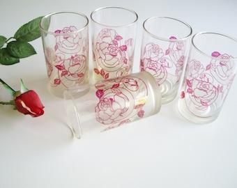 Vintage Juice Glasses, 8 oz, Rose, Frosted Glass, Art Nouveau Style, Set of 5, Red Juice Glass, Vintage Kitchen, Unique, Red Kitchen