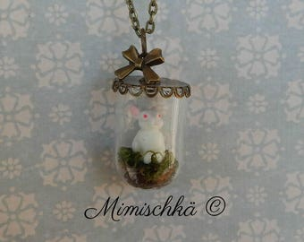 necklace glass dome little rabbit alice in wonderland