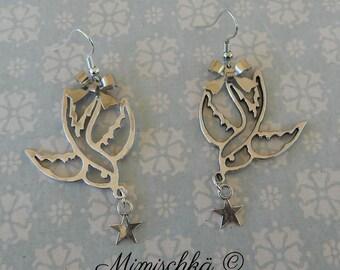 earrings silvered swallow little star