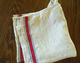 Cotton Farmhouse Kitchen Towel / Vintage Dish Towel / Hand Towel / Red  Stripe / Sewn