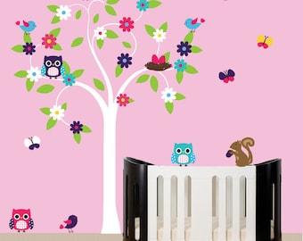 Nursery white tree wall decal sticker - owl decal - 039