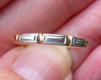 Art Deco  Platinum and 14KT yellow band ring