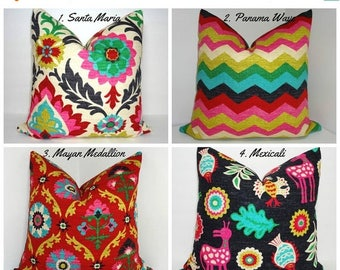 SPRING FORWARD SALE Waverly Desert Flower Collection Medallion Panama Wave Santa Maria Mexicali Pillow Covers Choose Size & Fabric