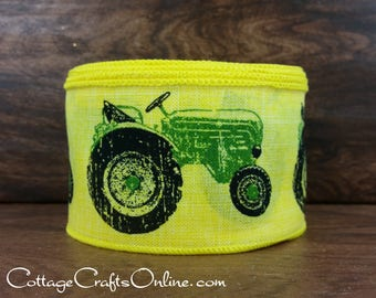 """Wired Ribbon, 2 1/2"""",  Green Tractor Print, Yellow Canvas Style - TEN YARD Roll - """"Tractor Yellow""""  Farm Print, Summer Wire Edged Ribbon"""