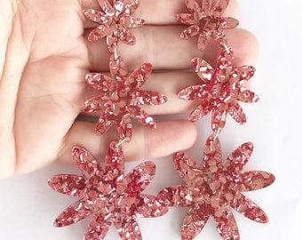 Flora Triple Drop - Dusty Pink Glitter Acrylic - Laser Cut Acrylic Flower Drop Earrings - Each To Own Original