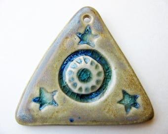 Star & Sun Pyramid Pendant Stoneware Clay