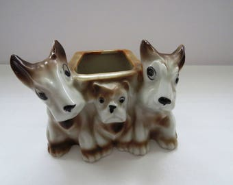 Scottie Dogs and Bull Dog PLANTER - Vintage Scottish Terriers Herbs Houseplants Holder Pot - Whimsical Dogs Vace - Dog Lovers Desk Decor