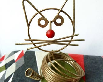 Vintage 1950's Atomic Ravenware, Gold Tone Wire Cat Sculpture, Richard Galef Tidy Tabby Wire Pen & Letter Stand, Stationary Holder
