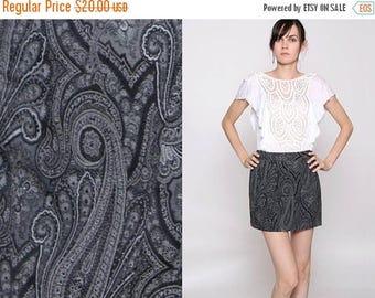 HUGE SALE Vintage 90s Black Gray White Paisley Mini Skirt