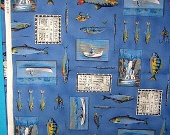 2 1/2 Yards blue Fishing Theme Robert Kaufman 100% cotton quilting fabric