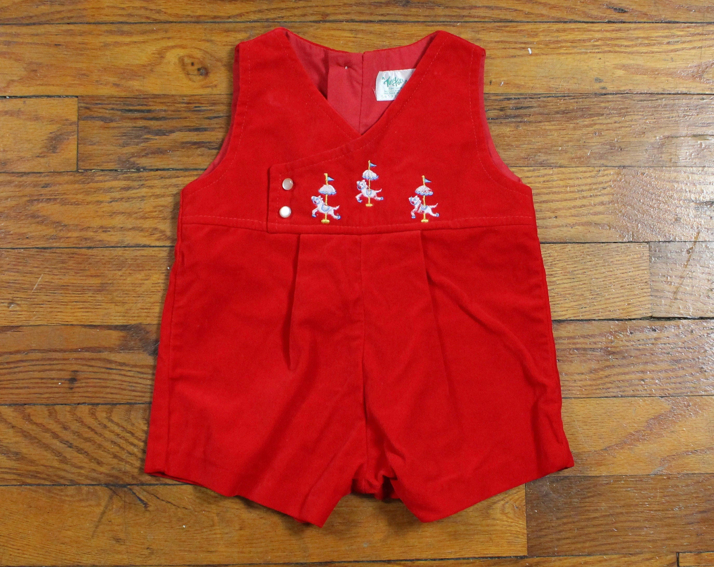 Vintage Baby Boy Jon Jons Brushed Cotton Red Velvet Overalls Baby