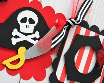 Pirate Birthday Party High Chair Mini Banner in Red and Black - Pirate Party Decorations - First Birthday - High Chair Garland - Boy Party