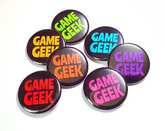 Geek Badge - Game Geek Pin Back Button Badge - Board Game Geeky Gift - Gamer Badge