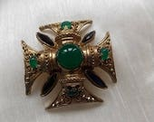 Vintage Gold Green Glass Cross Brooch Pin Pendant HUGE